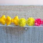 Set Of 3 Neon Studs Bow Fl..